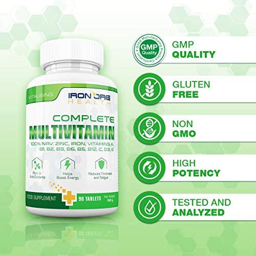 Complete Multivitamin – Die besten Vitamine, die man nur 1 x am Tag nehmen muss: für optimale Gesundheit, Vitalität, Unterstützung des Immunsystems, Zink, Eisen, Magnesium, 100% ETD an A C B2 B3 B6 B7 B12 D E für Männer & Frauen – 90 Tabletten – Qualitativ hochwertige Inhaltsstoffe - 7