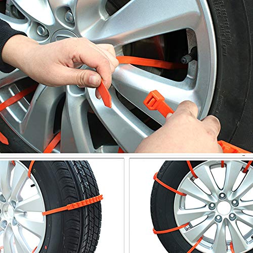 10 PCS wadoy Emergency Snow Chains,Snow Tire Chain Car Anti-Skid Emergency Winter Driving Spikes for SUV Car,Tire Chains Universal Winter Snow Mud Chains