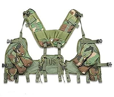 New Made in USA Army Military Woodland Camo Camouflage Enhanced TACTICAL LOAD BEARING VEST LBV Paintball Airsoft by US Goverment GI USGI