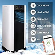 Hengda WiFi Tragbar Mobiles Klimaanlage 4 in1 System,9000 BTU/h(2600W),55L/Day Kapazität,Multifunktional Kühlen,Heizen,Entfeuchten,Lüften mit Montagematerial,Fernbedienung und Timer