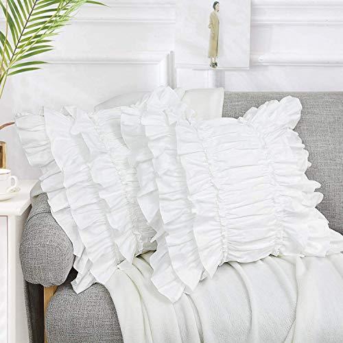 TEALP Cute Girls White Ruffles Patchwork Fundas de Almohada cuadradas Paquete de 2 Fundas de Almohada Decorativas Suave para el hogar (45 x 45 cmes)