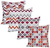 UMI by Amazon - Fundas de Almohada cuadradas, Suaves y Estampadas para el sofá, el Dormitorio y el Coche, 45 x 45 cm (Pack de 4), Red-Rust
