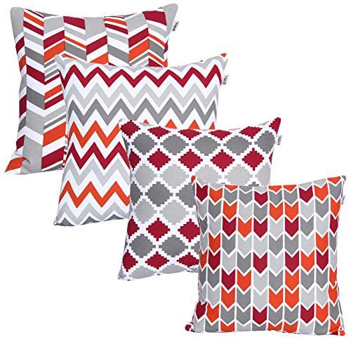 UMI By Amazon, federe quadrate per Cuscini, con Stampe Decorative, per divani, Camera da Letto, Auto, Set da 4, 45 x 45 cm, Red-Rust