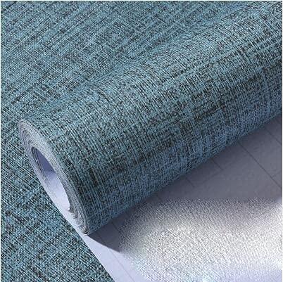 GLWXAHI Fondo de Pantalla Autoadhesivo de Vinilo de PVC para Dormitorio Sala de Estar Decoración de la Pared Calcomanías para la Cocina Contacto Papel Pegatinas de Pared Flax Light Blue 60cmX3m