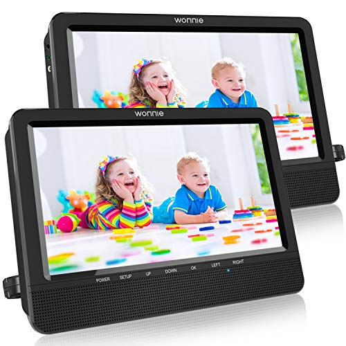 WONNIE 10.5 Portable Dual DVD Players with Two Mounting Brackets, 1024x800 HD LCD TFT, USB/SD/MMC Card Readers, Built-in 5 Hours Rechargeable Battery, Stereo Sound, AV Out & in (1 Player + 1 Screen)