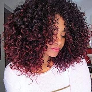 Full Shine Kinky Curly Remy Hair Clip In Extensions For Black Women 14 Inch Black fading To Wine Red Hair Clip in Extension 100 Gram 7 Pcs Natural Hair With Clips Double Wefted Hair
