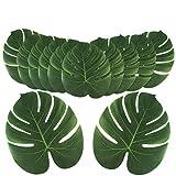 Aytai 24 hojas de palmera tropicales grandes artificiales, hojas de safari sintéticas Monstera, hojas falsas de Monstera, fiesta de Luau hawaiana, decoración para fiestas temáticas de playa,...
