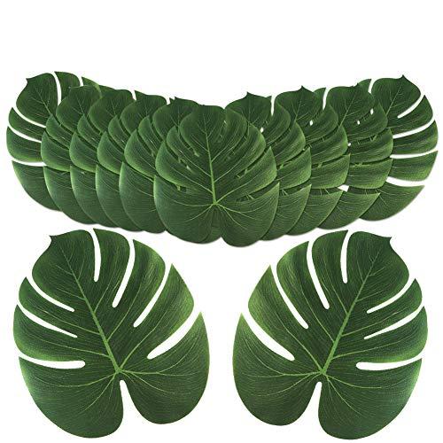 Aytai 24 hojas de palmera tropicales grandes artificiales, hojas de safari sintéticas Monstera, hojas falsas de Monstera, fiesta de Luau hawaiana, decoración para fiestas...