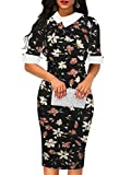 oxiuly Women's Vintage Half Sleeve Button Color Block Formal Office Work Pencil Dress OX276 (XL, Black Floral)