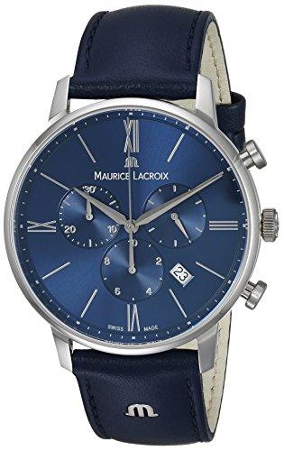 Maurice Lacroix Herren Chronograph Quarz Uhr mit Leder Armband EL1098-SS001-410-1