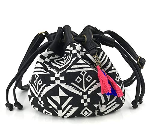 Hoxis Totem Bohemian Patterned Canvas Drawstring Mini Bucket Shoulder Bag Satchel