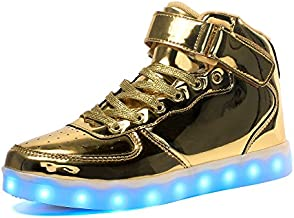 Voovix Kids LED Light Up High-top Shoes Rechargeable Hi-Shine Glowing Sneakers for Boys and Girls Child Unisex(Gold,US3.5/CN36)