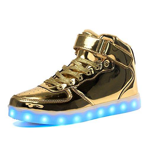 Voovix Kinder High-top LED Licht Blinkt Sneaker mit Fernbedienung-USB Aufladen Led Schuhe für Jungen und Mädchen (Gold, EU40/CN40)