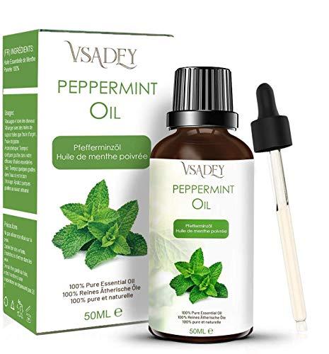 VSADEY Aceite Esencial de Menta 50ml, Aceite de Menta 100% Puro, Natural y Vegano, Aceite de Aromaterapia para Difusor, Fragancia para el Hogar, Bricolaje
