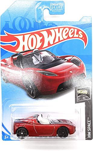 Hot Wheels 2019 HW Space Tesla Roadster with Starman Figure 109/250, Maroon Long Card