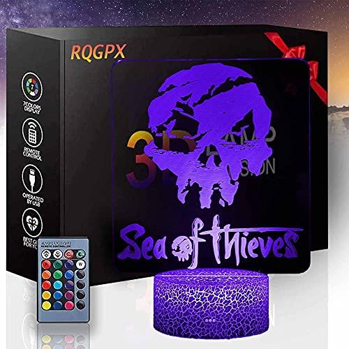 Seaof Fnieves 3D ilusión lámpara led noche luz juego iluminación 3D lámpara de estado de ánimo Multicolor luz blanca cálida cambiar mesa escritorio regalo regalo juguete