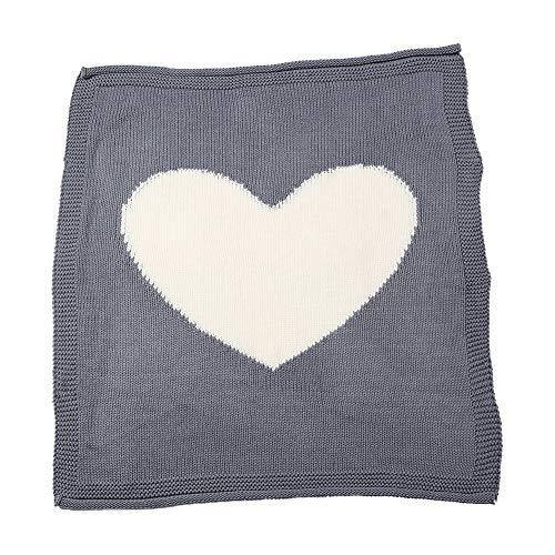 Crystallly baby zachte warme swaddle deken liefde hart patroon gebreid haken eenvoudige stijl Swaddle Wrap slaapzak slaapzak kinderwagen wrap (grijs)