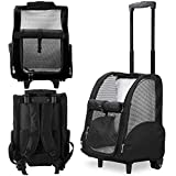Kundu KDU-013 Deluxe Backpack Pet Travel Carrier with Double Wheels - Black