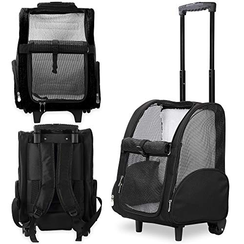Kundu KDU-013 Deluxe Mochila Transportín para mascotas con ruedas dobles, color negro,...