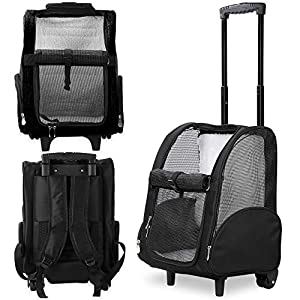 Kundu KDU-013 Deluxe Backpack Pet Travel Carrier with Double Wheels – Black – Approved by Most Airlines