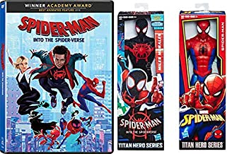 The 2 Main Spidey Heroes From Two Different Universes: Spider-Man Into The Spider-Verse + Miles Morales & Spider-Man Titan Hero Series Movie/ Action Figure SUPER Spidey 3 Item Bundle