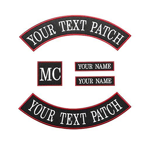 Brillianne Benutzerdefinierte Biker Weste Patch, personalisierte Text Rocker Name Patch Für Club, Motorrad, Taschen Jacken Kleidung (White on Black with red Border)