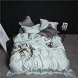 LOIKHGV Beauty 100% Silk Bedding Set Lo Mejor para el Cuidado de la Piel Funda nórdica Pillwocase Queen King Flat Sheet para Mujeres Hombres Kid Bed Set, 007, Queen