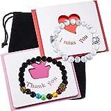 Hicarer 2 Pieces Valentines Lava Bead Bracelets Pet Memorial Bracelets Rainbow Bracelets and 2 Pieces Cards for Men and Women