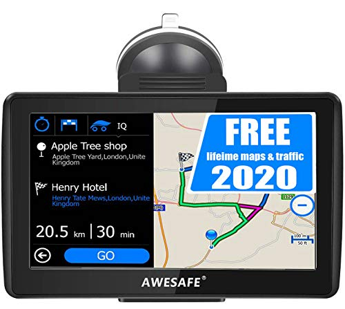 Navigatore Satellitare Auto, 7 Pollici GPS per Auto Moto Camion Truck Navigation con Avviso Traffico Vocale, Limite di Velocit, PDI, Rubrica, Aggiornamenti delle mappe a vita gratuiti