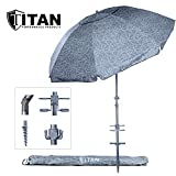Titan 8 Foot Beach Umbrella with Sand Anchor. Fully Telescoping. UPF 50 Plus Rating. Tilting 2 Piece Design. Includes Cup Holders, 4 Prong Hanging Hook, Corkscrew Anchor, and Carrying Bag.