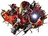 Zhongyanxin Grande 3D Iron Man Ironman Adhesivo de Vinilo Adhesivo Pared Mural Niños Infantil Adolescente Adolescentes Dormitorio Hombre Habitación Arte Decoración Hogar 70 50cm