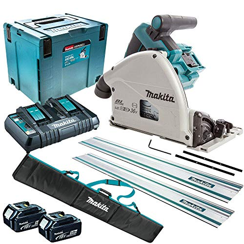 Makita DSP600ZJ 36V 165mm Plunge Saw + 2 x 5Ah Batteries Charger & Accessories