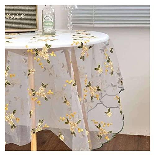 WSZMD Mantel De Bordado Vintage Bricolaje Cubierta De Mesa De Malla Suave EN S Paño De Fondo De Encaje, Mantel (Color : Yellow, Specification : 200x135cm)
