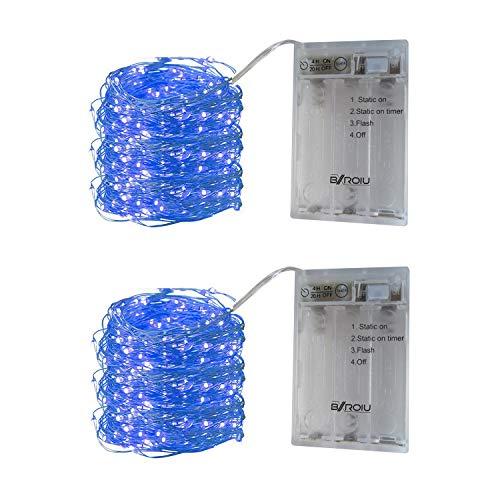BXROIU 2 x 50er Micro LED Lichterkette Batterie betrieb 3 Programm und Timer Auf 5 Meter Silberdraht für Party, Weihnachten, Halloween, Hochzeit Deko (Blau)