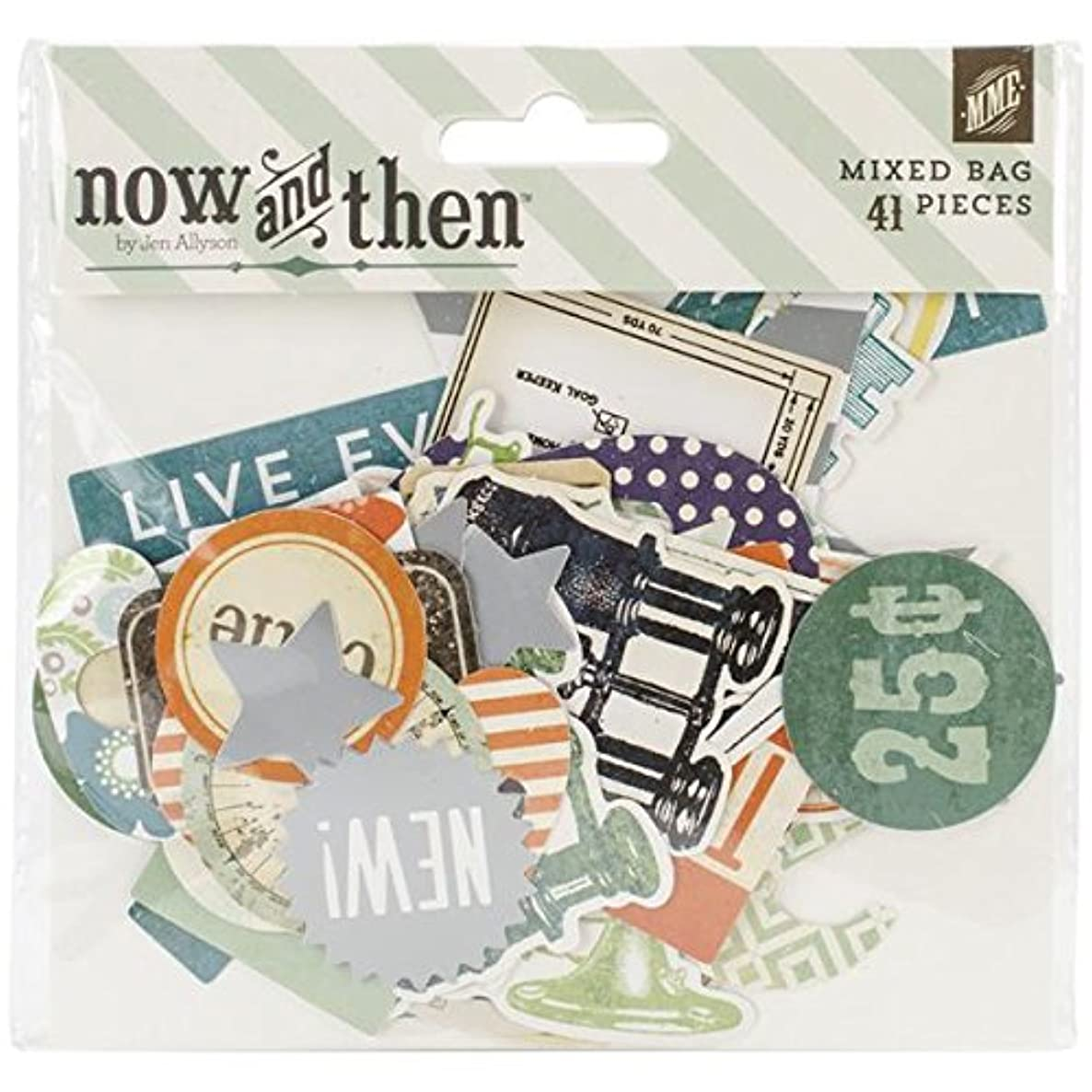 My Mind's Eye Now and Then Izzy Mixed Bag Cardstock Die Cuts, Happenings