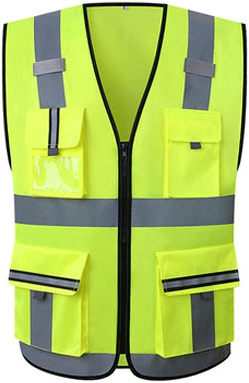 Reflective Vest, Adjustable Double Door Fluorescent Sanitation Vest Traffic Car Riding Safety Predective Clothing (color   1 Pack, Size   L)