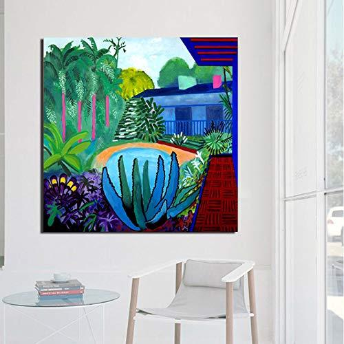 KWzEQ Tropische Wand Leinwand Ölgemälde Poster drucken Moderne Ölgemälde Wandbild für Wohnzimmer Hauptdekoration,Rahmenlose Malerei,40x40cm