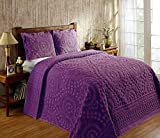 Better Trends Rio Collection in Floral Design 100% Cotton Tufted Chenille, King Bedspread, Plum