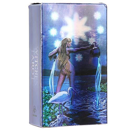 Cartas de Tarot, Cartas Del Tarot de Brujas Holográficas con Efecto Flash, Juego de Mesa Interactivo Paper English Adivination Card Para Principiantes y Amantes(1)