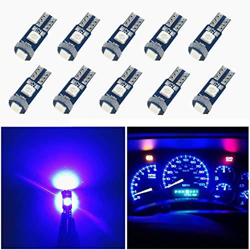 T10 PC194 Instrument Panel Cluster Blue led Light Bulb Dashboard Sockets x10