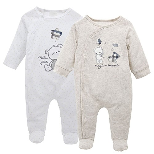 Lot de 2 Nouveau née Combinaison Ensemble, Grenouillères Barboteuses Jumpsuit Body Pyjama Tenues 0-3 Mois