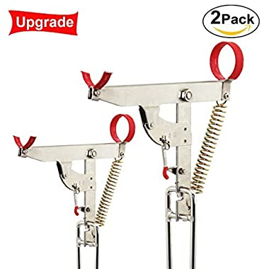 Fishing Pole Rack, Stainless Steel with Auto Tip Up Hook Setter, Full Adjustable Folding Ground Support Sea fishing rod organizer One Single Spring More Sensitive