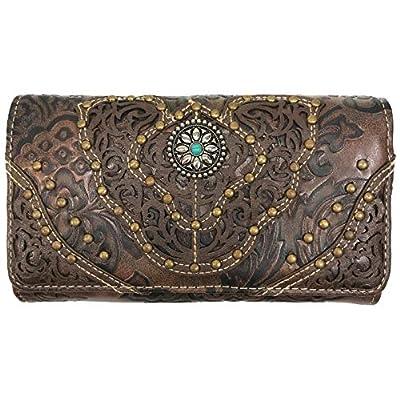 Zelris Women Western Floral Damask Pattern Medallion Crossbody Wrist Trifold Wallet (Brown)
