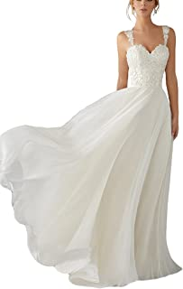 8efa14d2f6e2 Andybridal A Line Spaghetti Straps Sweetheart Lace Chiffon Bridal Gowns  Beach Wedding Dress