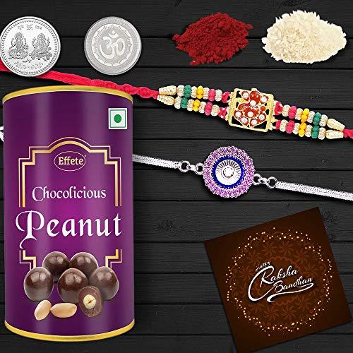Rakshbandhan Special Rakhi Combo - Designer Ganesh Rakhi / Crystal Diamond Rakhi Silver-Gold Color / Plated Rakhi (Q2_1+A1_EP96) with Chocolate Combo, Roli chawal, Pooja Coin & Greeting card | Rakhi with chocolates | Rakhi gift for brother | Rakhi gift chocolate for brother | Rakhi low price | Rakhi thali | Rakhi veera | Rakhi roli chawal | Rakhi with gift |