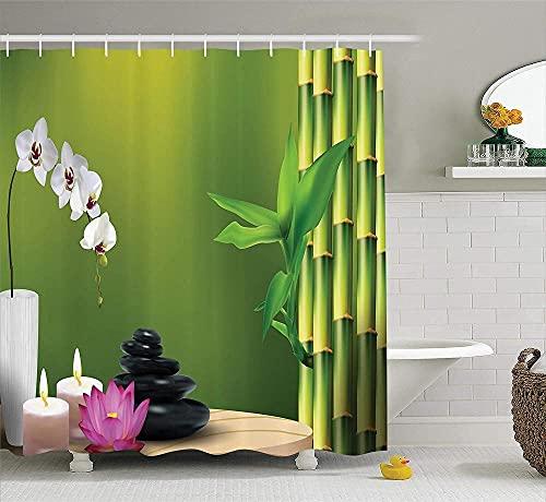 Spa Duschvorhang Bambus Blume Stein Wachs auf dem Tisch Orchidee Rock Ges&er Lebensstil Thema Stoff Stoff Bad Dekor Dekor mit Haken Farngrün Fuchsia Weiß