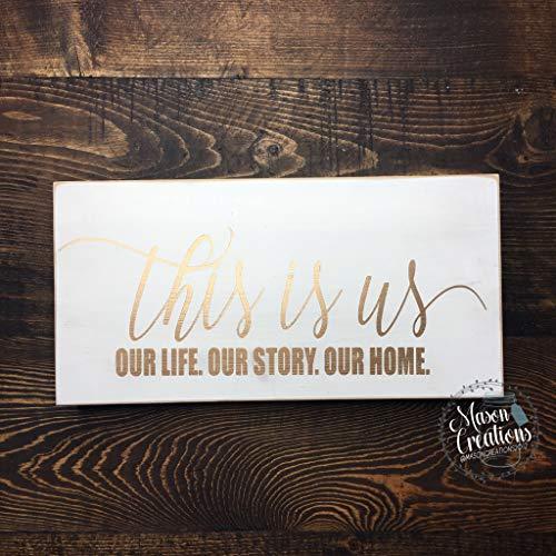 This Is Us Custom Bloque de madera de la cita de la familia Decoración de la habitación de oro Nuestra vida Nuestra historia Nuestro hogar Manto Signo de nuevo regalo de boda familiar