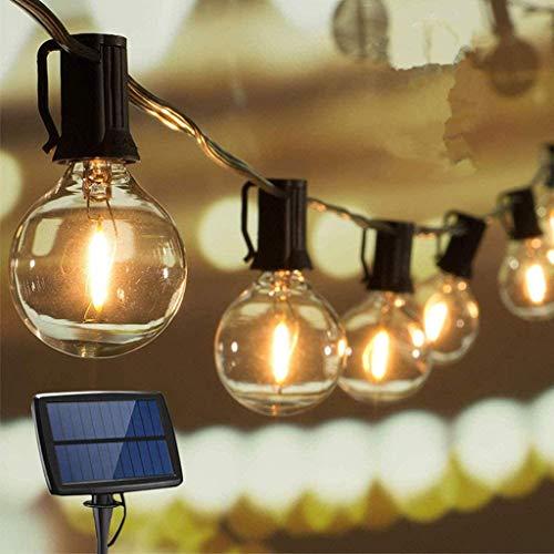 Luces de cuerda solares, cadena de luz LED G40 para exteriores, 12 bombillas de vidrio transparente, blanco cálido, iluminación de adorno impermeable para la fiesta de café en el patio trasero