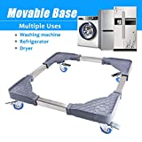 Adjustable Washing Machine Stand with 4 Locked Swivel Wheels Movable Portable Washer Dryer Stand Dolly Refrigerators Pedestal Base Roller