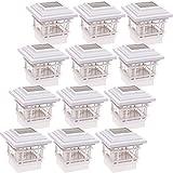 GreenLighting 12 Pack Contemporary 15 Lumen Plastic Solar Post Cap Lights for 4x4 Wood Posts (White)